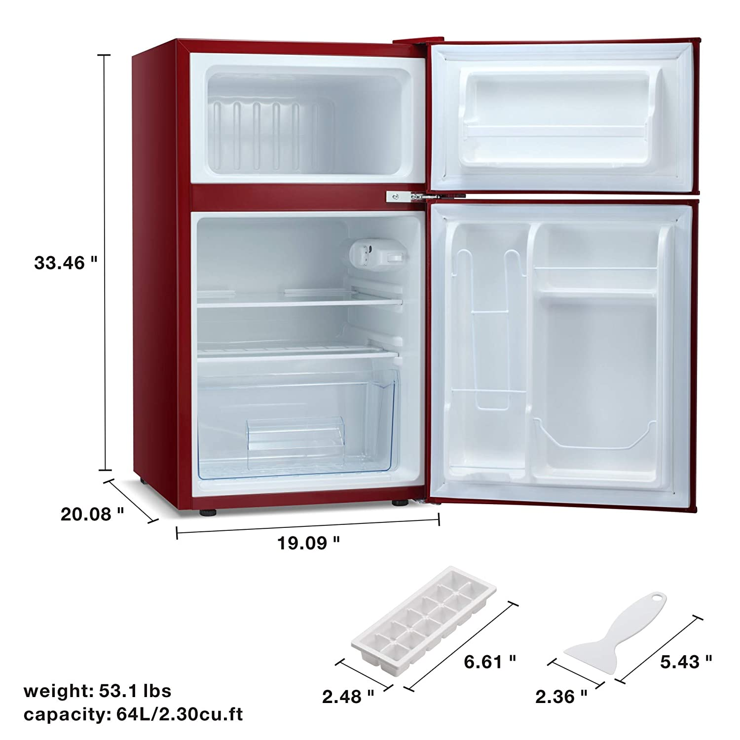 3.3 Cu.ft Portable Double-door Freezer with Removable shelves Built-in Compact Fridge Kismile Free-standing Upright Refrigerator for Dorm//Apartment//Hotel//Office//Home//RV,Silver