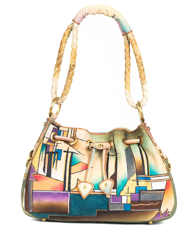 ZIMBELMANN POLLY Genuine Nappa Leather Hand-painted Hobo Shoulder Bag