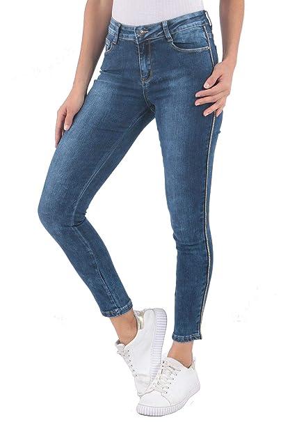 ArizonaShopping Damen Jeans Hose Gold Streifen Stretch Skinny Röhrenjeans  D2510  Amazon.de  Bekleidung 3697d0d65f