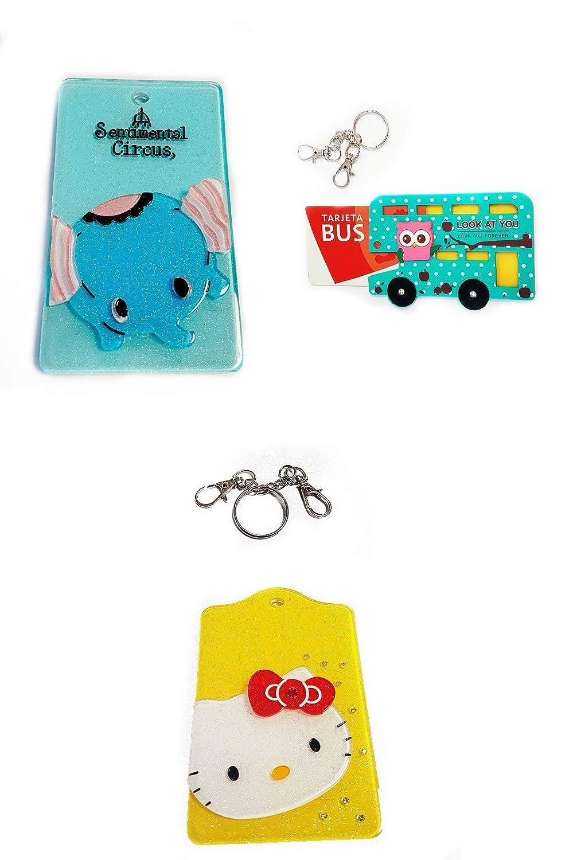 ZARAPOP - Llavero – Tarjeta – Bus – crédito – Club – Pack 3 Unidades. Incluye Dumbo, Hello Kitty y Bus Buho.
