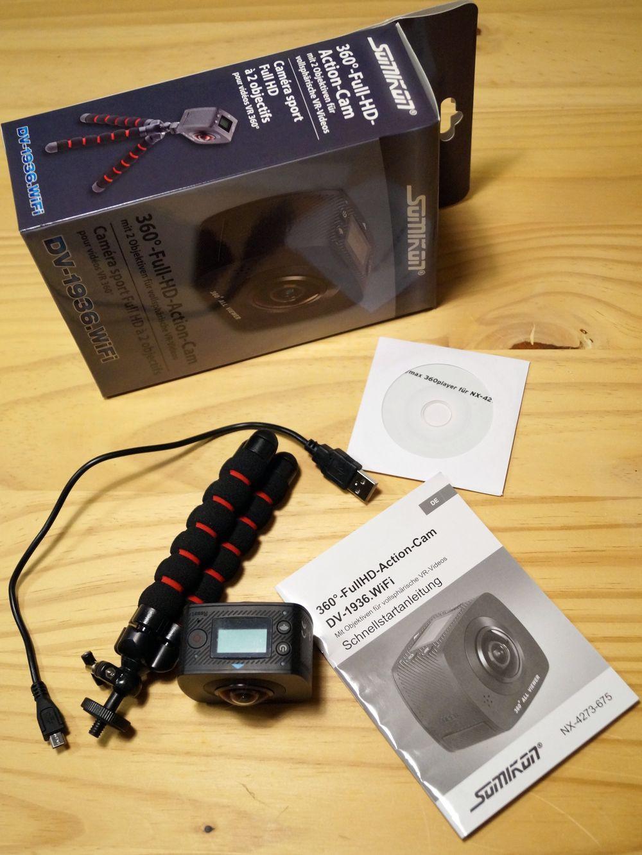 Somikon 360 Actioncam: 360°-Full-HD-Action-Cam mit 2