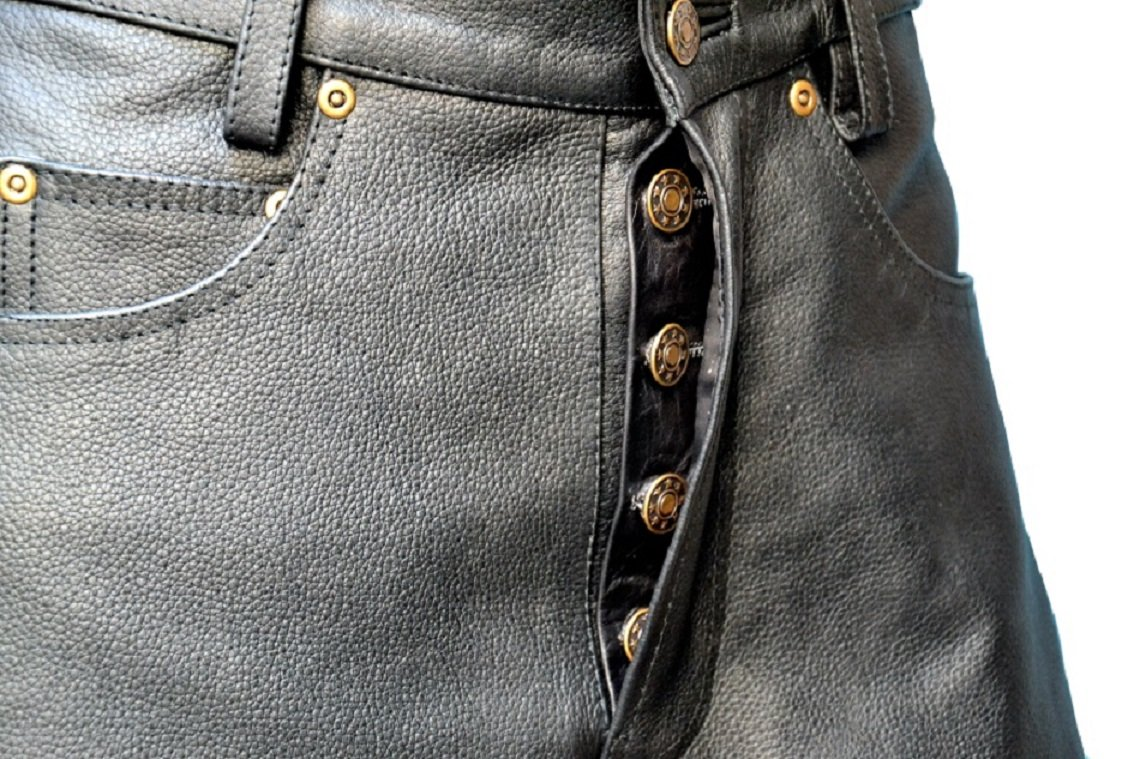 Mens Genuine Leather Pant 5 Pockets Jeans Style Button Fly Model (38 Inch Waist) by Rakson (Image #3)