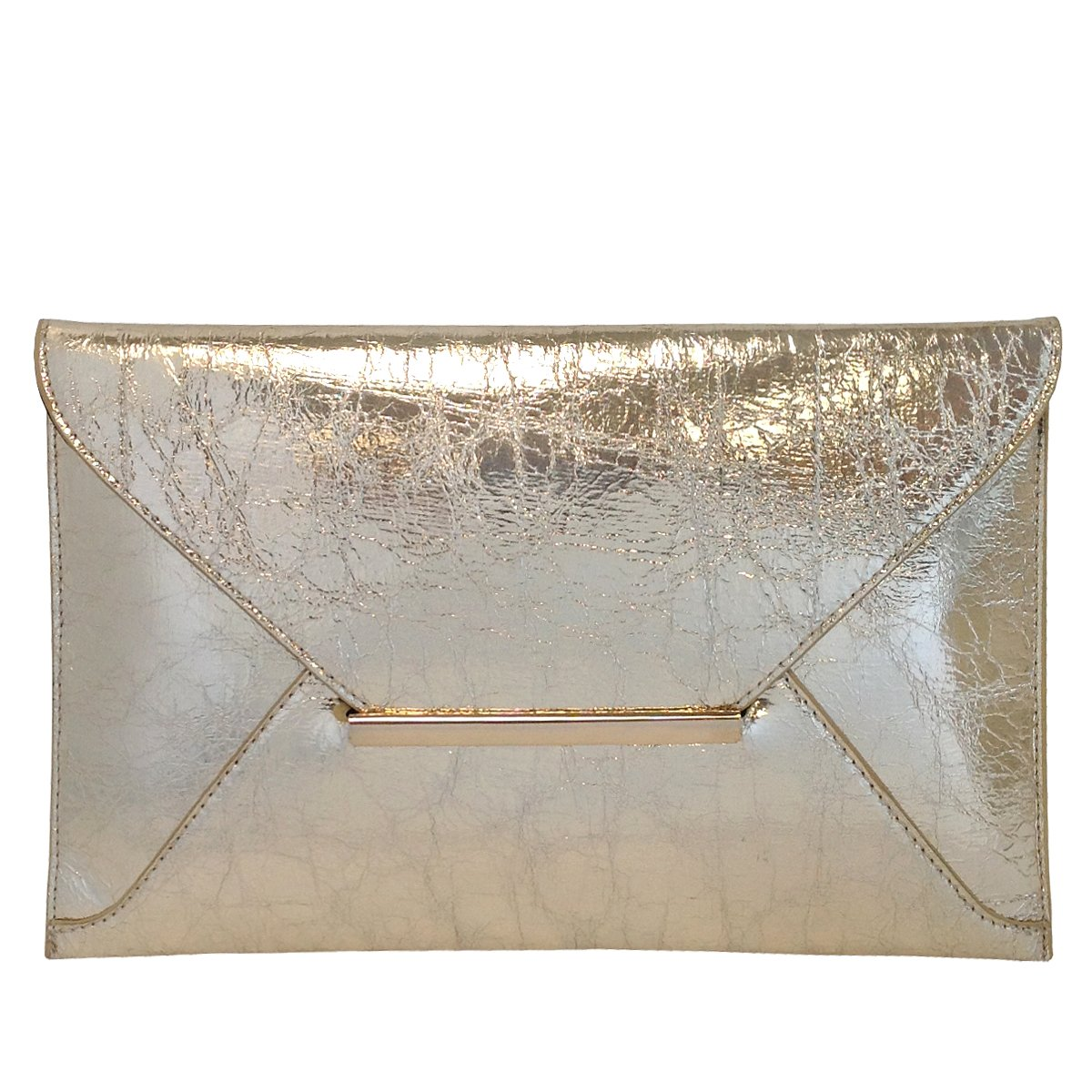 Crushed Metallic Envelope Clutch, Gold