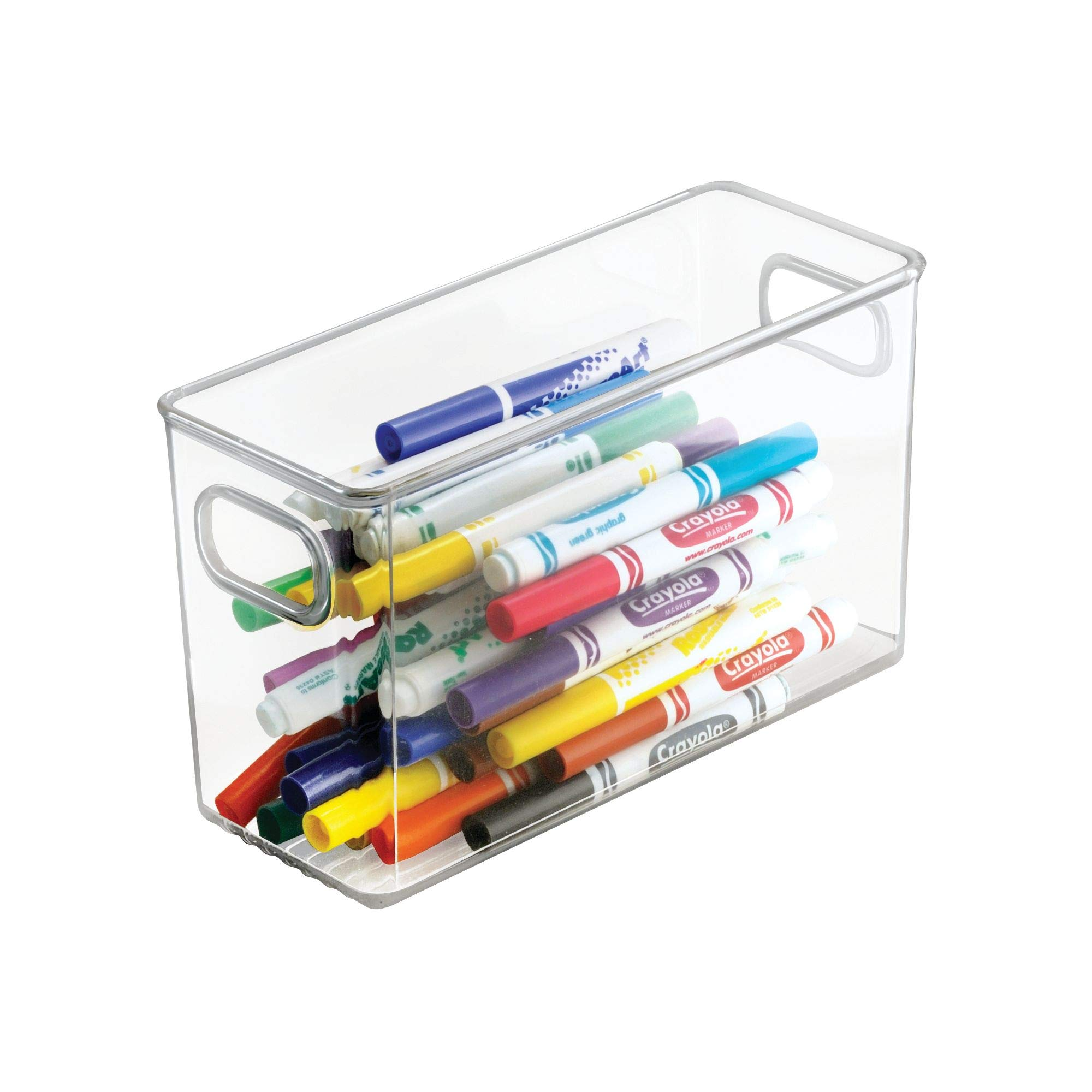mDesign Office Supplies Desk Organizer Bin for Pens, Pencils, Markers, Highlighters, Tape - Pack of 4, 10'' x 4'' x 6'', Clear by mDesign (Image #5)