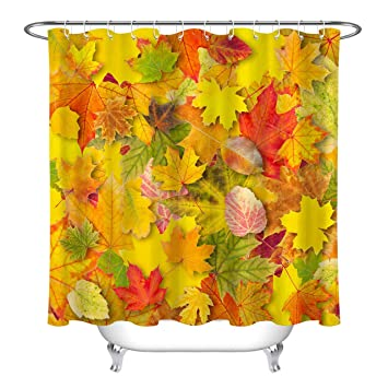 Orange Shower Curtain Autumn Nature Dry Leaves Print for Bathroom