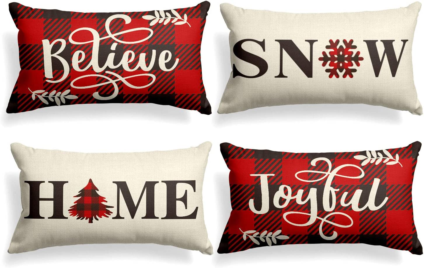 AVOIN Buffalo Plaid Believe Joyful Home Snow Throw Pillow Cover, 12 x 20 Inch Christmas Winter Holiday Snowflake Cushion Case Decoration for Sofa Couch Set of 4