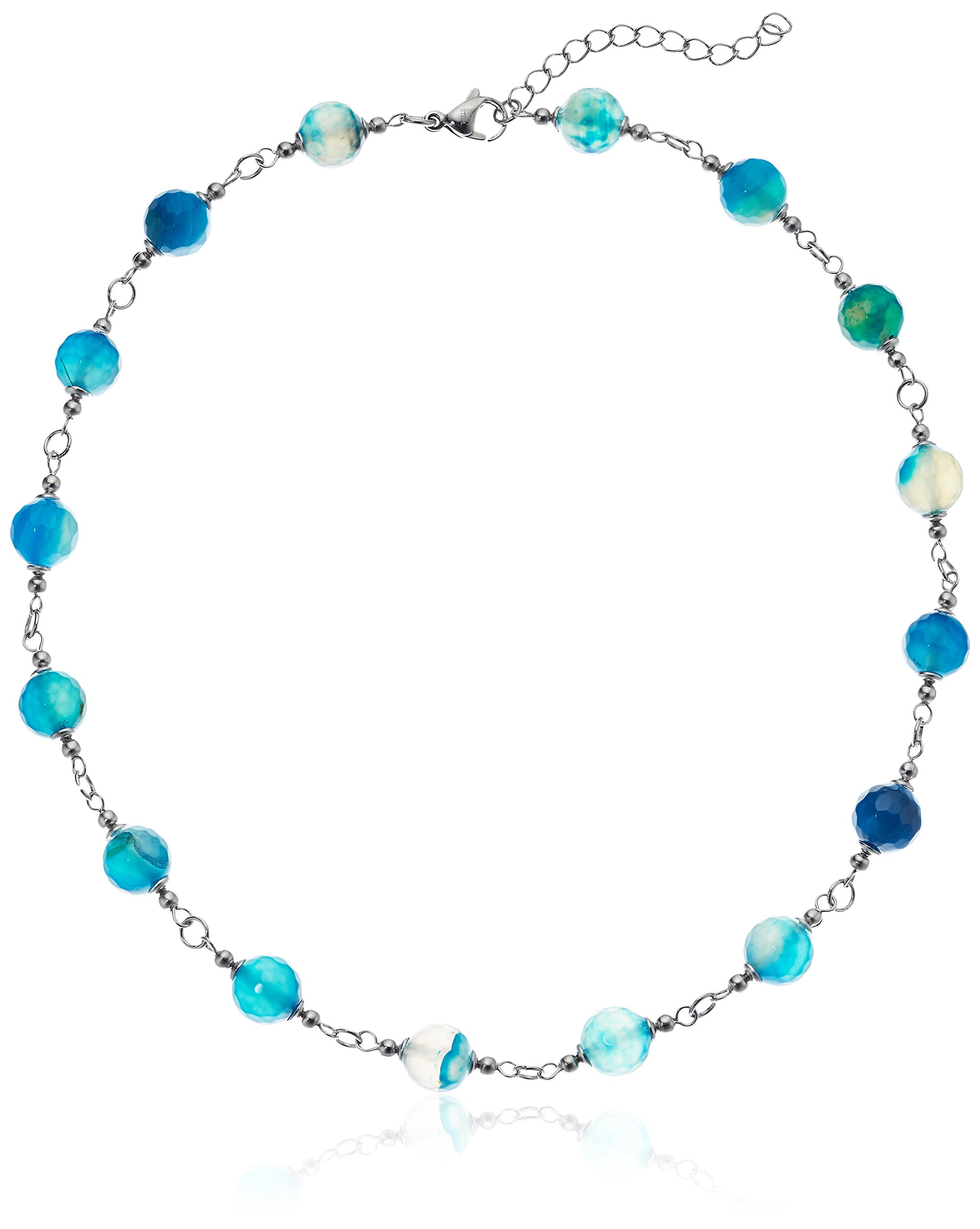 ELYA Jewelry Womens Stainless Steel Necklace With Blue Natural Agate Stones Strand Necklace, Blue, One Size