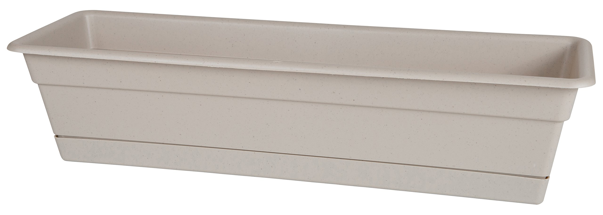 Bloem Dura Cotta Window Box Planter w/Tray, 18'', Taupe (DCBT18-35)