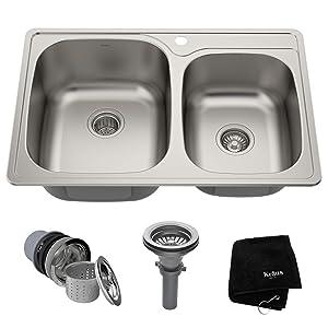 Kraus KTM32 33 inch Topmount 60/40 Double Bowl 18 gauge Stainless Steel Kitchen Sink