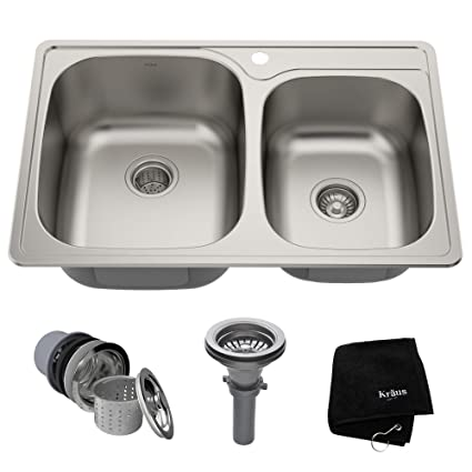 0fb1b8376d Kraus KTM32 33 inch Topmount 60/40 Double Bowl 18 gauge Stainless Steel  Kitchen Sink - - Amazon.com