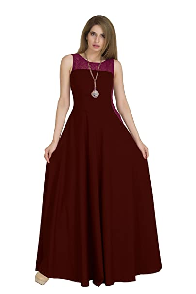 Raas Pr ecirc;t Women's Crepe Side Contouring Flared Maxi Dress  RPSS17_52C_Maroon,Wine  Dresses
