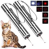 BiuCat 2 st 7 i 1 LED-pekare för katter och hundar, USB-laddbara, interaktiva chaserleksaker, träningsredskap för…