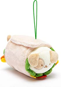 "Anirollz Keychain Mini Plush Stuffed Animal Ornaments Burrito Dog Bag Charm X-Small 3"" (Puppiroll)"