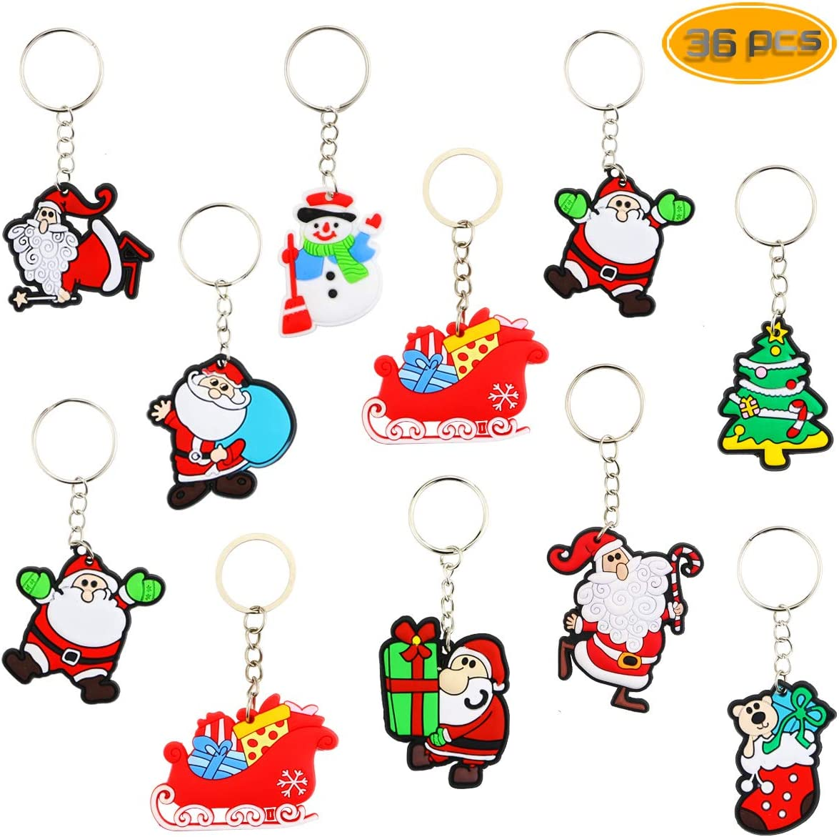 BeautyMood 36 Pcs Santa Claus Cartoon Keychain PVC Soft Keychain Cartoon Key Pendant Creative Key Ring Small Gift For Christmas.
