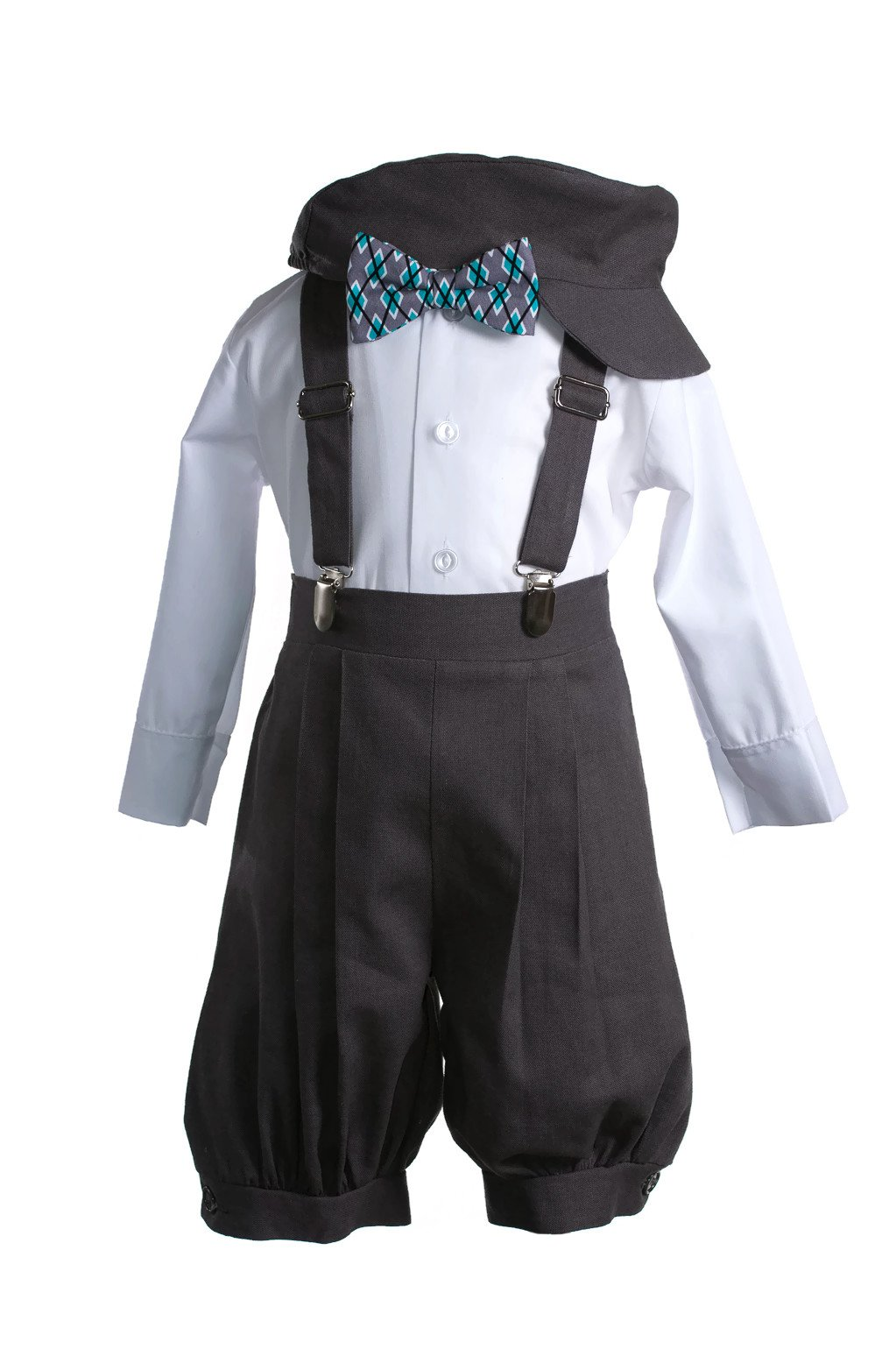 Boys Dark Grey Linen Knicker Outfit Aqua Argyle Bow Tie Baby and Toddlers (2 Toddler) by Tuxgear