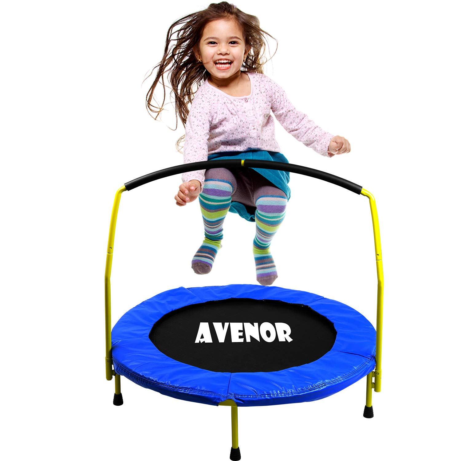 Toddler Trampoline With Handle - 36'' Kids Trampoline With Handle - Mini Trampoline w/ Sturdy Frame, Coil Spring, Safety Padded Cover -Heavy Duty Mini Trampoline Indoor Outdoor Toddler Trampoline by Avenor