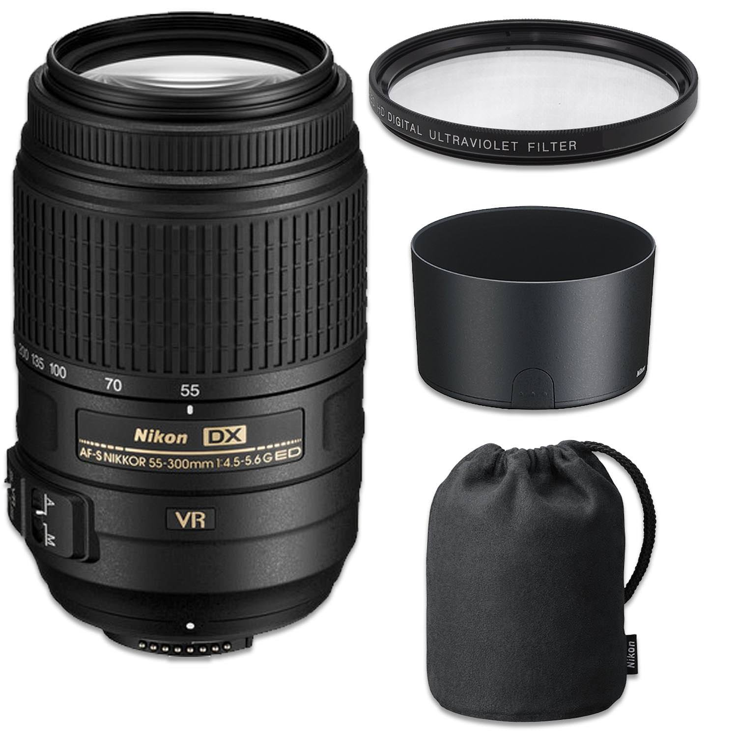 Nikon AF-S DX NIKKOR 55-300mm f/4.5-5.6G ED VR Lens with HB-57 Snap On Hood, CL-1020 Flexible Lens Case and 58mm UV Filter (Certified Refurbished)