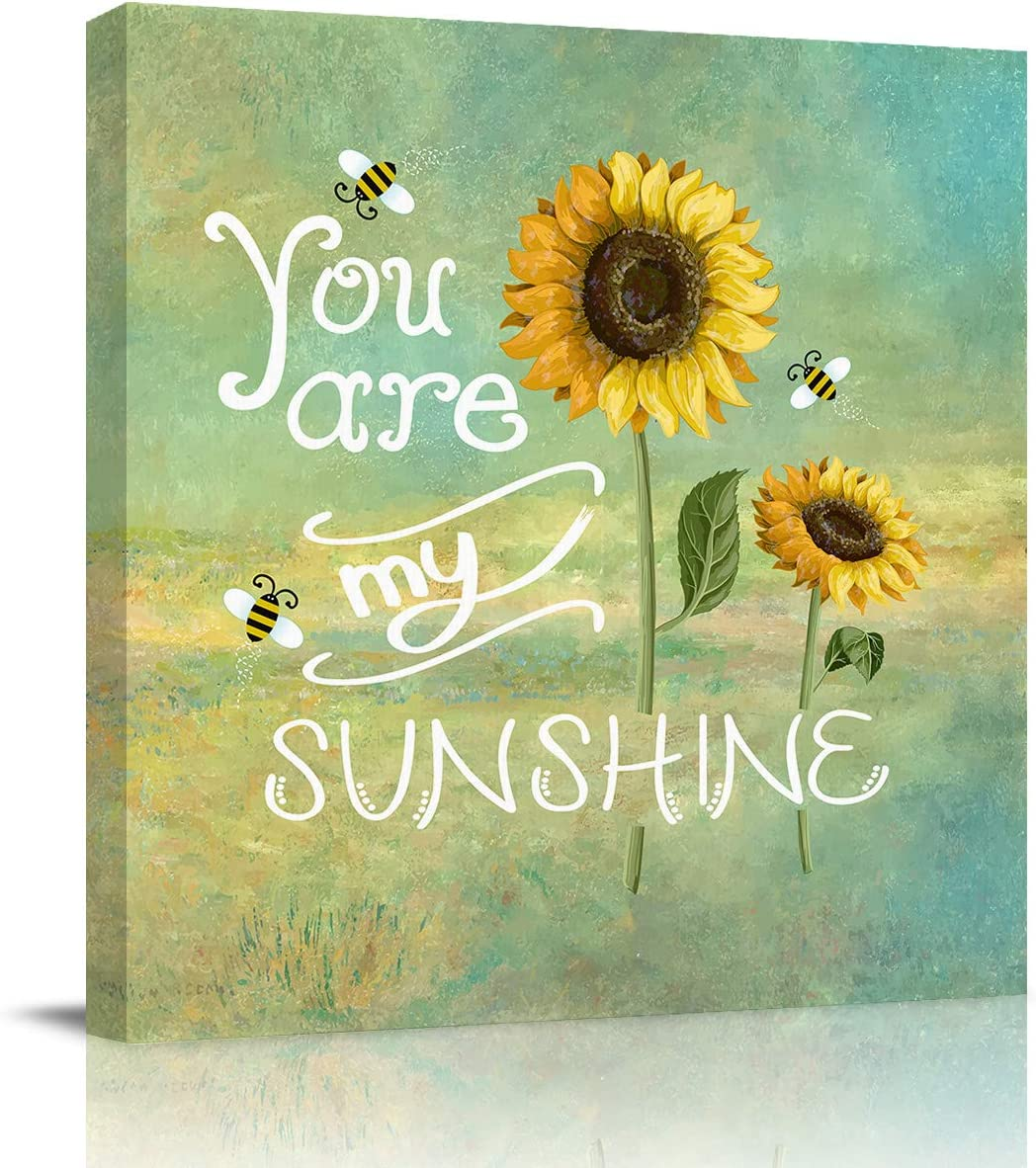 FOREVER20 Canvas Print Wall Art for Bathroom Kitchen Wall Decor Sunflower, You are My Sunshine Picture Painting Contemporary Artwork Stretched and Framed for Bedroom 12x12in