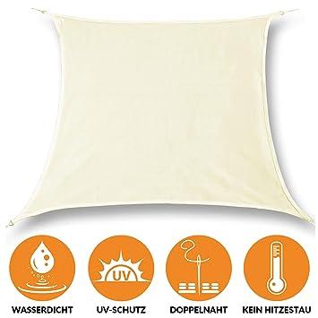 Sonderangebot elegantes Aussehen klassisch bonsport Sonnensegel Quadrat wasserdicht 2x2 m Creme - Sonnenschutz  quadratisch mit UV-Schutz für Garten, Balkon Terrasse, Camping