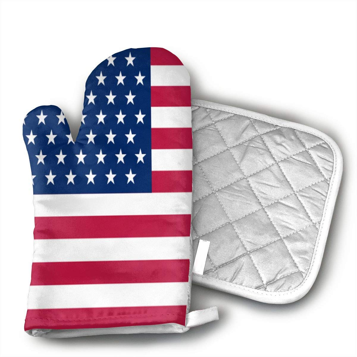 UFKEOJ American Flag Oven Mitts,BBQ Microwave Baking Protective Glove and Hot Pot Heatproof Mat Set,Cotton, Machine Washable