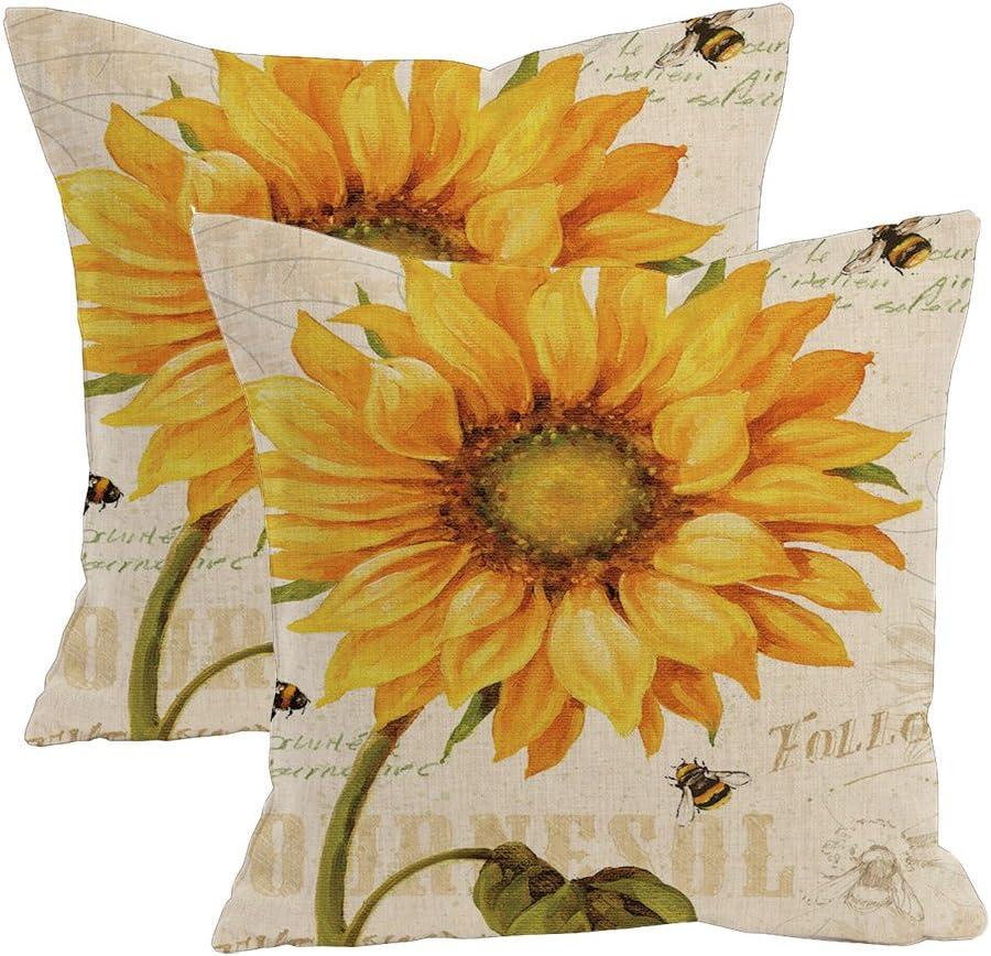 2Pcs Linen Blend Natural Flowers Pattern Cushion Cover Cotton Pillowslip Square Decorative Throw Pillow Case 18 X 18'' (Oil Painting Sunflower)