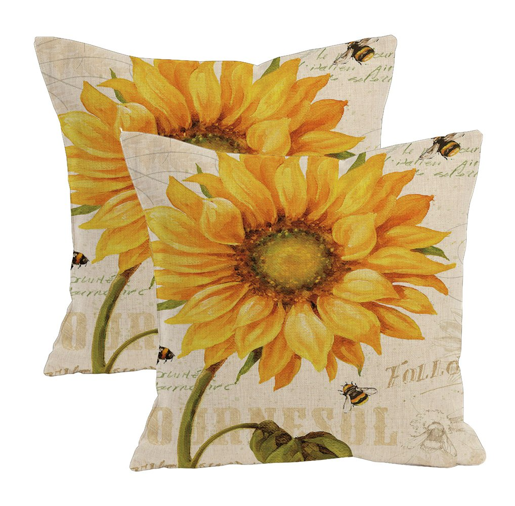2Pcs Linen Blend Natural Flowers Pattern Cushion Cover Cotton Pillowslip Square Decorative Throw Pillow Case 18 X 18'' (Oil painting sunflower)