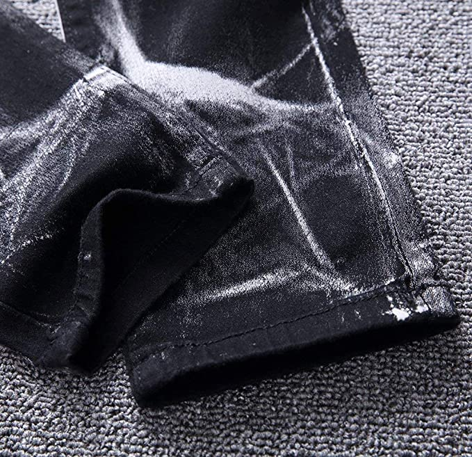 b08ca8af7f030 Jeans pour Hommes Pantalon en Jambe Denim À Délavé Droite Spécial Style  avec Pantalon en Denim À Motif Tête De Loup Imprimé  Amazon.fr  Vêtements  et ...
