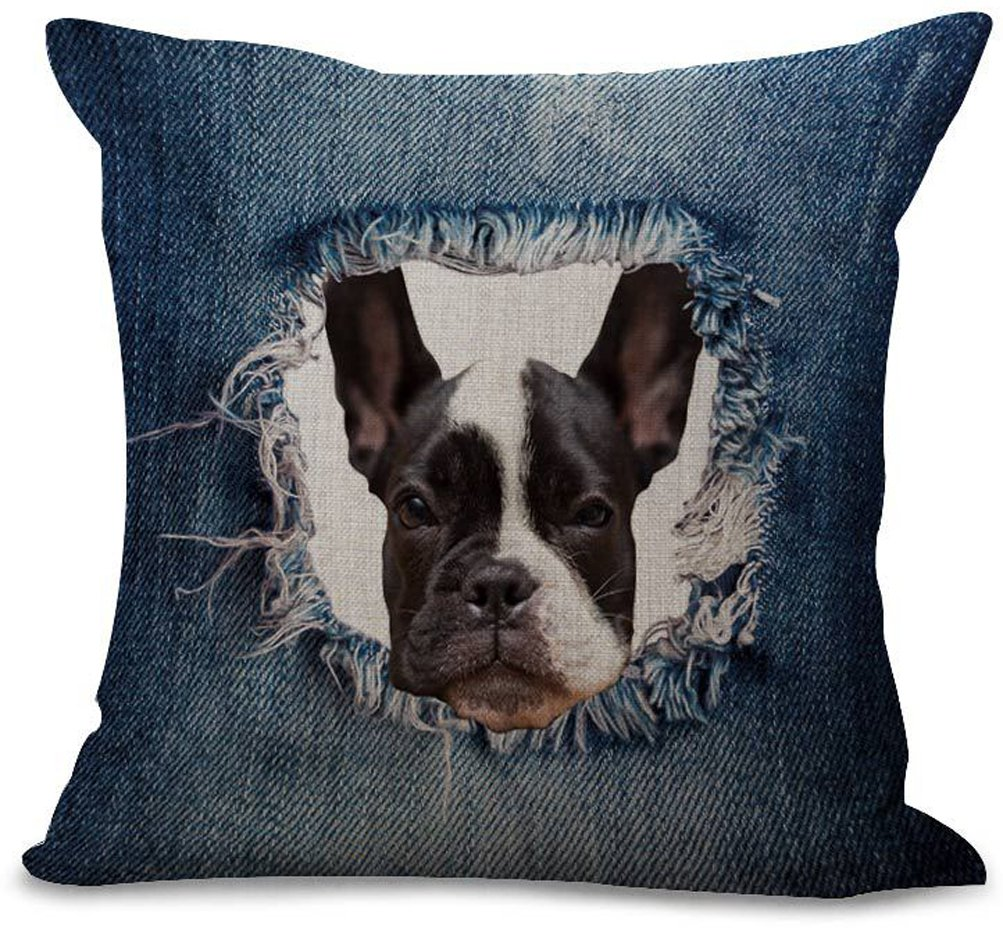 Eazyhurry Denim Silly Dog Print Cotton Linen Square Pillow with Invisible Zipper Decorative Cushion Throw Home Decor for Bench/Couch/Sofa 18