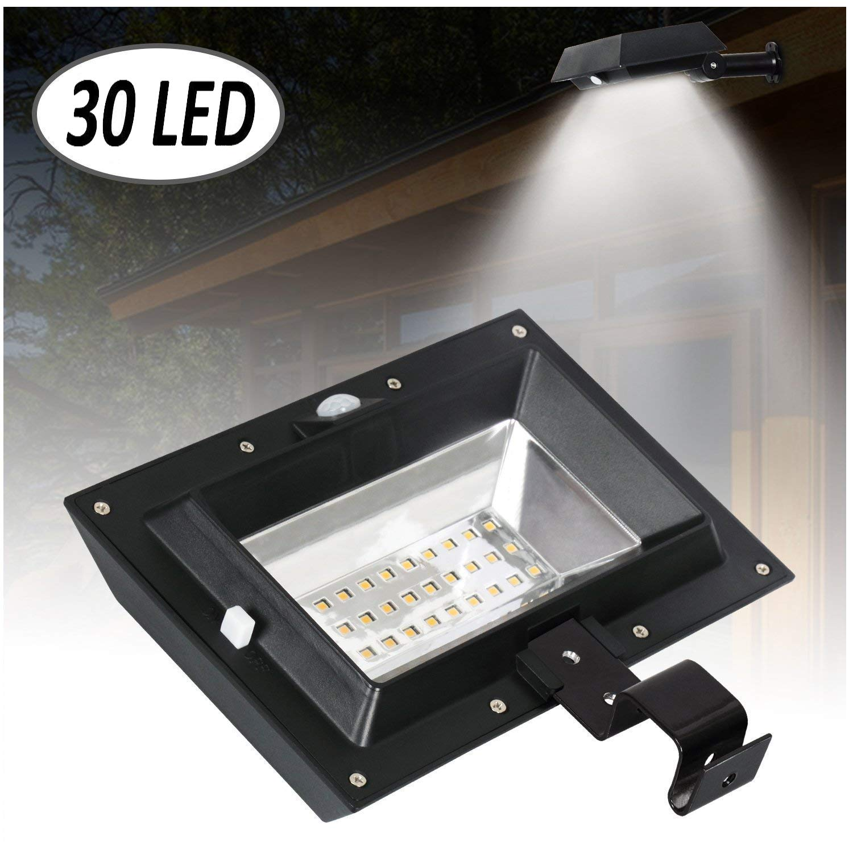 [1 Pack] 30 LED PIR Motion Sensor Solar Lights,T-SUNRISE Solar Gutter Lights,Waterproof Security Lamp for Outside Garage Door,Wall,Stairs Anywhere Safety Lite with Bracket (6000K-Black)