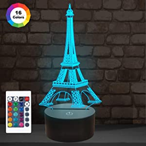 FULLOSUN Eiffel Tower Nightlight 3D Illusion Lamp Visual Bedroom Decoration LED Lamp with Remote Control 16 Color Changing Paris Fashion Style Acrylic Gifts for Birthday Xmas