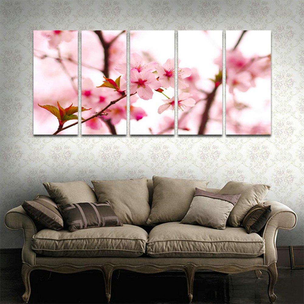 CyiohArt 5パネル アートパネル 「美しい桜」 壁掛け 風景写真の壁の写真を絵画 キャンバス絵画 ホームデコレーション用 (69インチx32インチ、木枠付きの完成品) B077MD5NVY 35cmx80cmx5|木枠付きの完成品 木枠付きの完成品 35cmx80cmx5