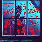 LUKAT Halloween Decorations, 6 Sheets Halloween Window Stickers Scary Bloody Handprint Footprint Stickers Horror Decoration S