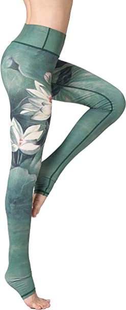 FLYILY Womens High Waist Printed Yoga Pants Stretchy Fitness Workout Sports Leggings