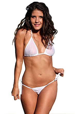0c0be2a3163f9 Amazon.com  UjENA White IRD Bubbles Sheer Tonga String Bikini Bottom Only   Clothing