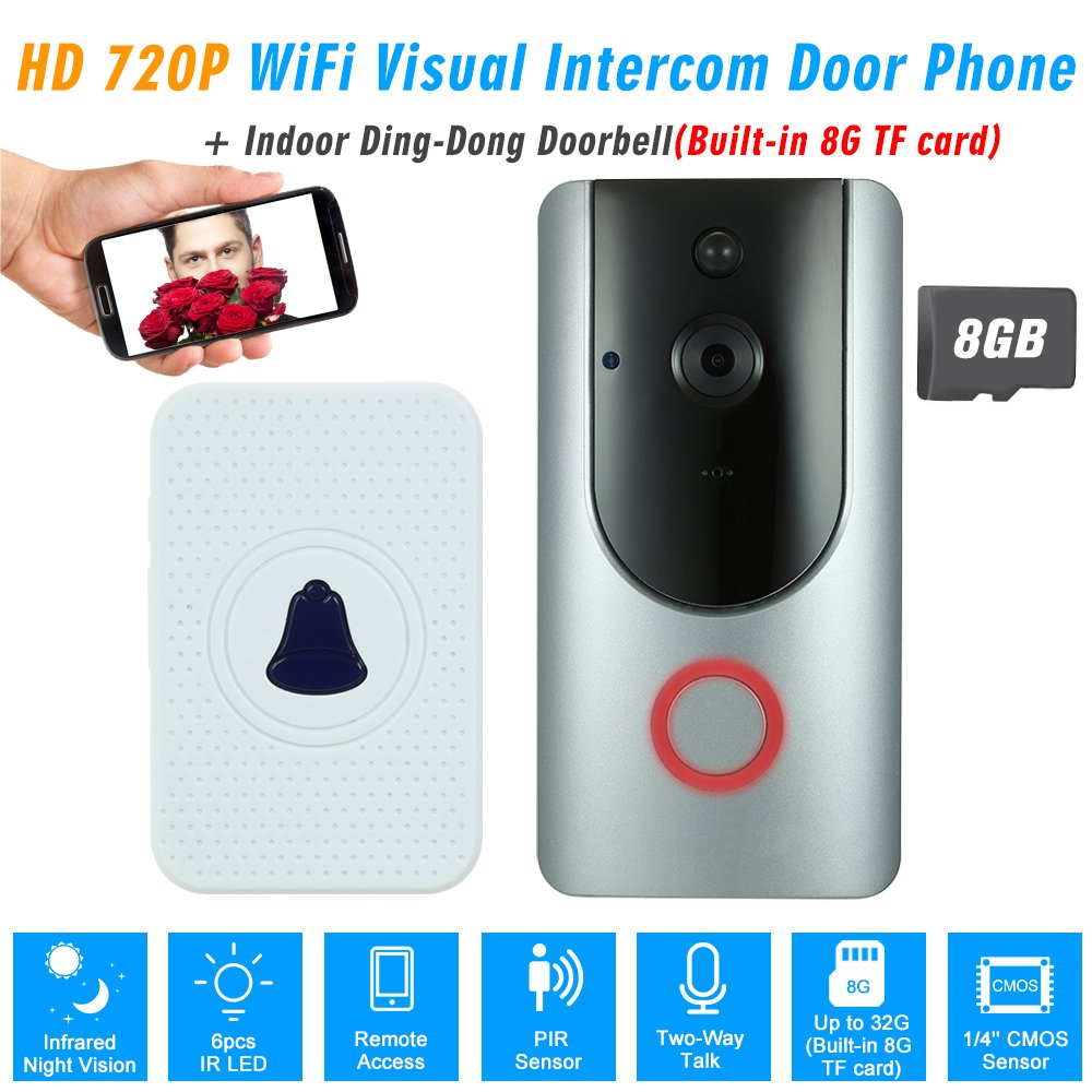 ET Wifi Wireless Video Doorbell Smart Door Bell Two-Way Talk+Dingdong+32GB Card