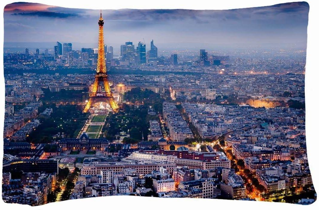 Microfiber Peach Queen Size Decorative Pillowcase Cities Travel Beautiful Paris Night Wallpaper Amazon Ca Home Kitchen