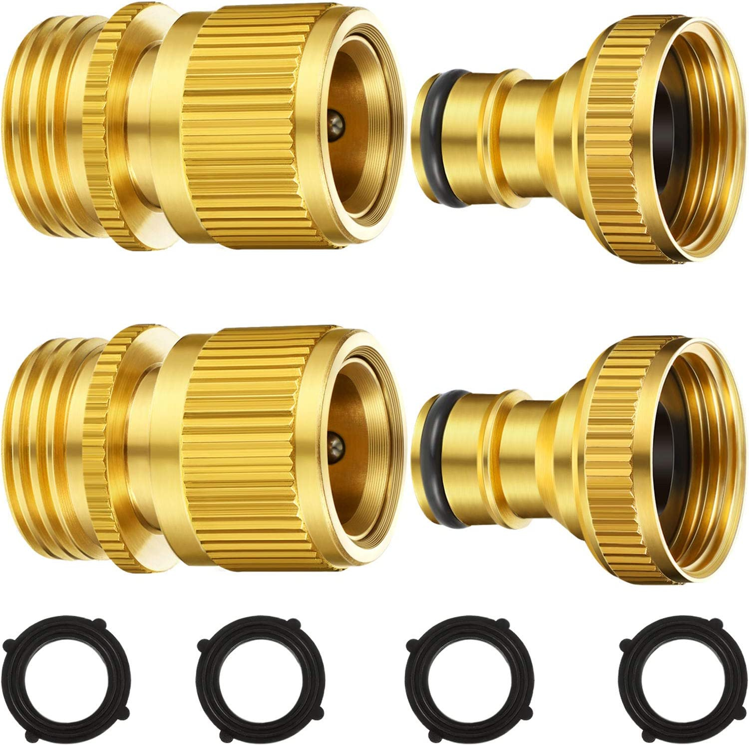 Garden Hose Quick Connect Fittings Solid Brass Quick Connector 3/4 Inch GHT Garden Water Hose Connectors with Extra Rubber Washers, Male (IT) and Female (OT) (2 Sets)