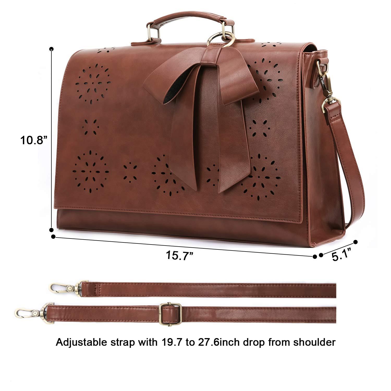 ECOSUSI Ladies PU Leather Laptop Bag Briefcase Crossbody Messenger Bags Satchel Purse Fit 14 Laptop Red