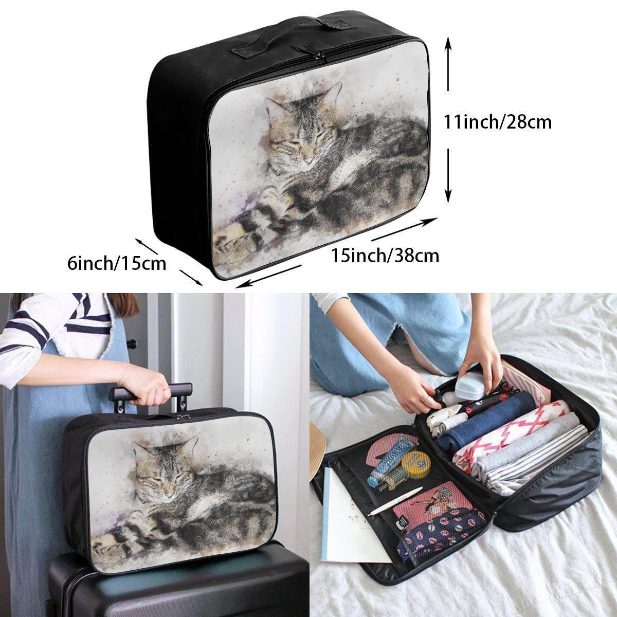 Abstract Art Cat Travel Lightweight Waterproof Foldable Storage Carry Luggage Large Capacity Portable Luggage Bag Duffel Bag