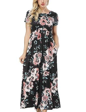 6abceb42e20b3 Women Floral Maxi Long Dress Summer Casual Short Sleeve Party Dress Pockets  Black