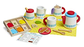 melissa u0026 doug 22piece steep and serve wooden tea set play food and