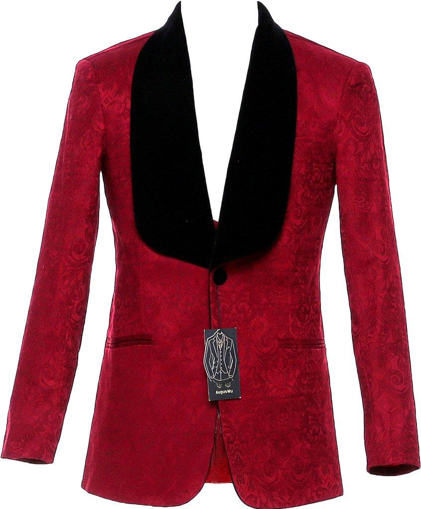auguswu One Button Jacquard Weave Mens Slim Fit Tuxedos Suits 2 Piece Sets