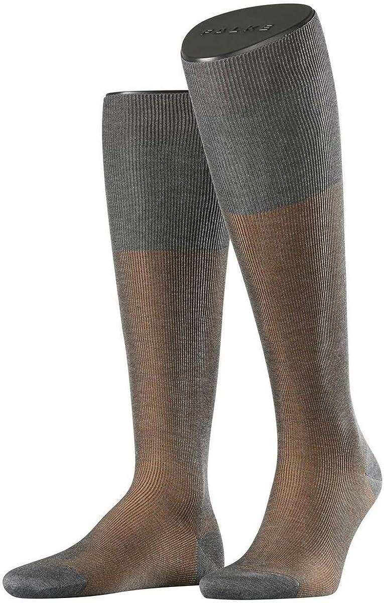 Extra Small Grey//Brown Falke Mens Fine Shadow Knee High Socks