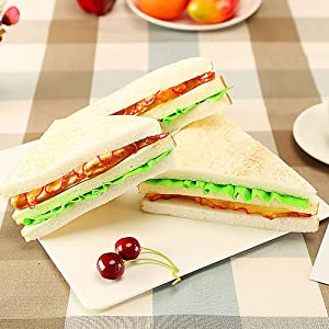 HTFGNC Kmiunty 3PCS Simulation Food Artificial Sandwich Fake Food Bread Model Photography Prop for Home Kitchen Party Decoration