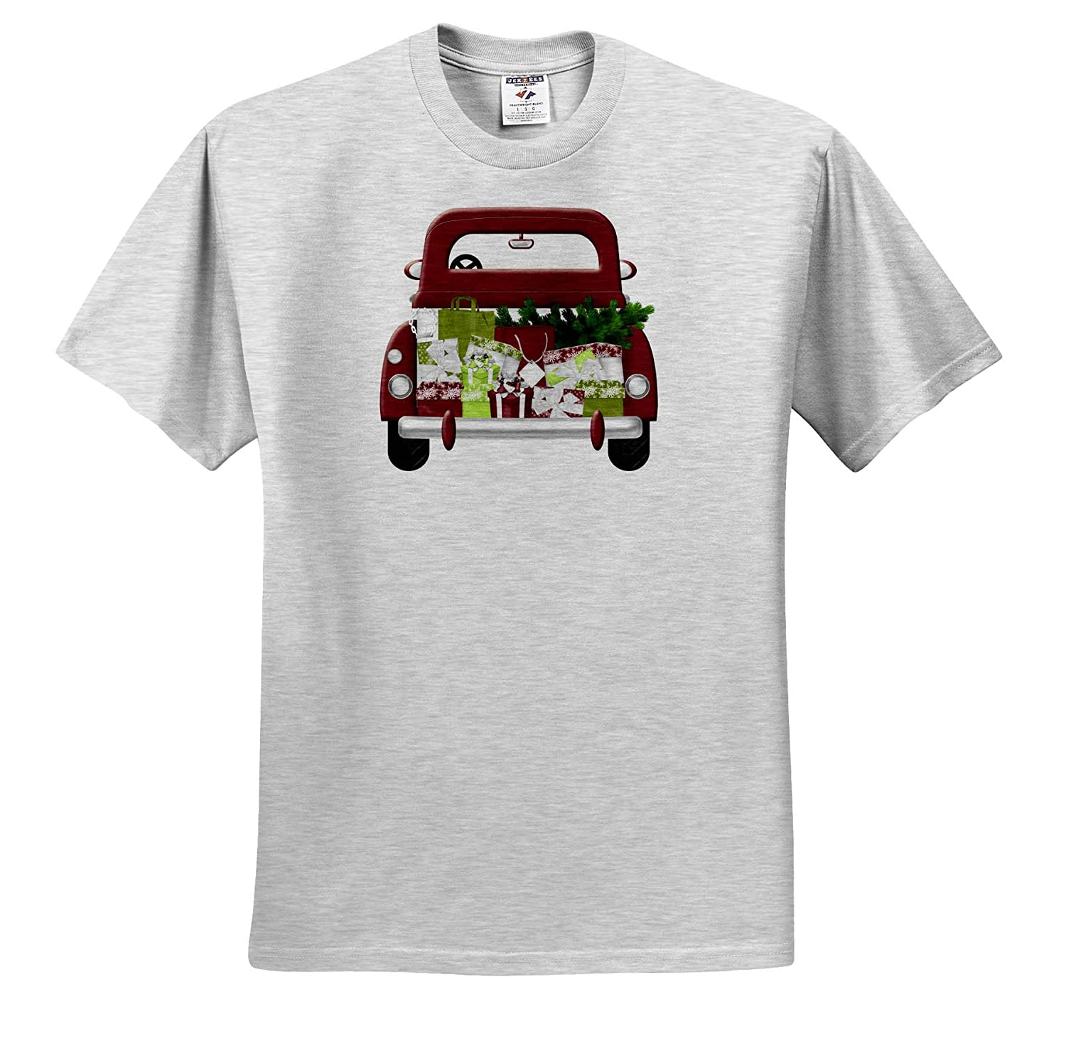 3dRose Anne Marie Baugh Christmas Cute Vintage Christmas Truck Full of Gifts Illustration Adult T-Shirt XL ts/_318482