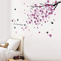 Walplus - Adhesivos decorativos para la pared, diseño de árbol en flor y golondrinas, color rosa y negro