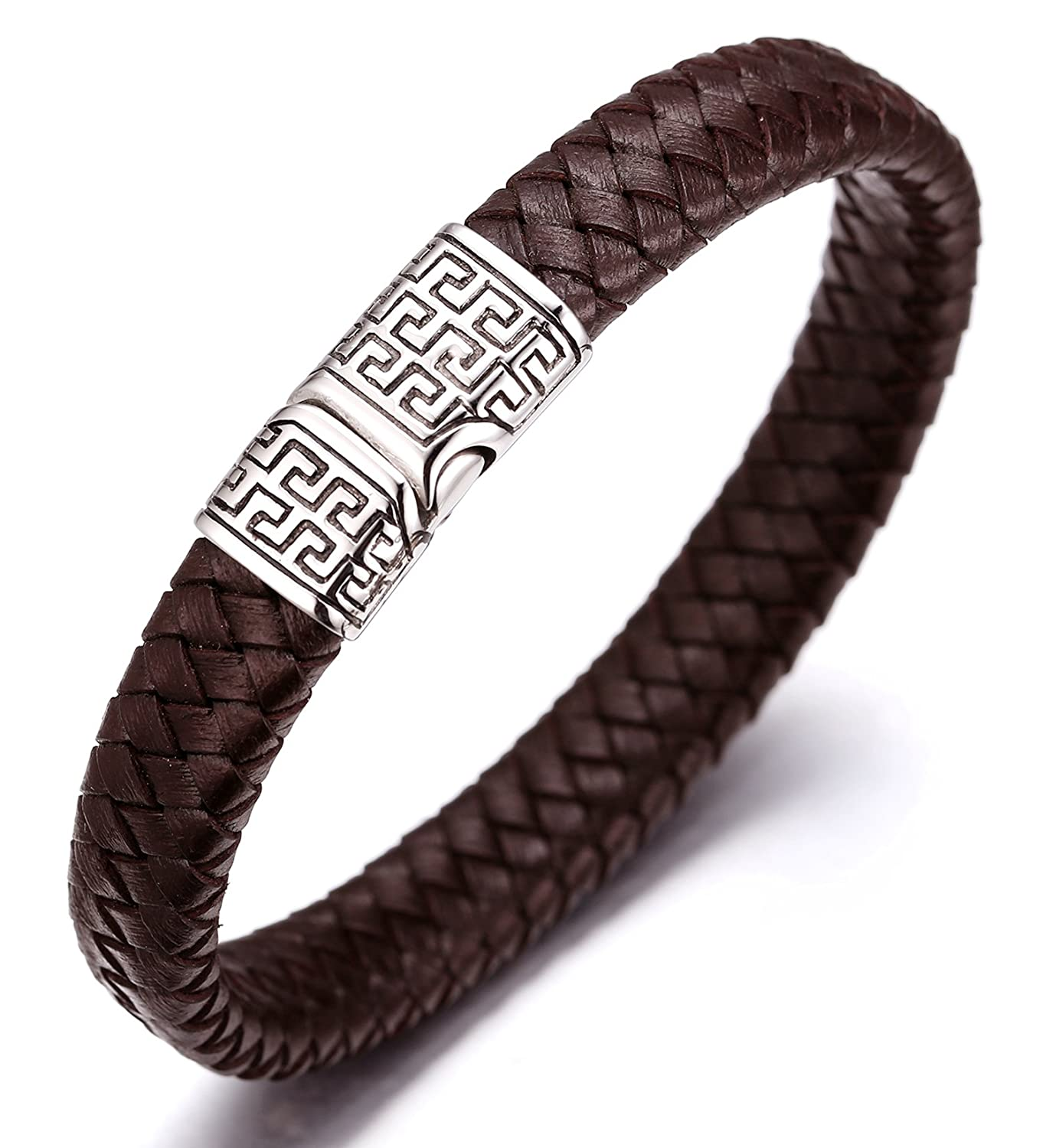Halukakah SOLO Men's Genuine Leather Bracelet Titanium Clasp with Magnets 8.46'(21.5cm) (Black/Brown) with FREE Giftbox