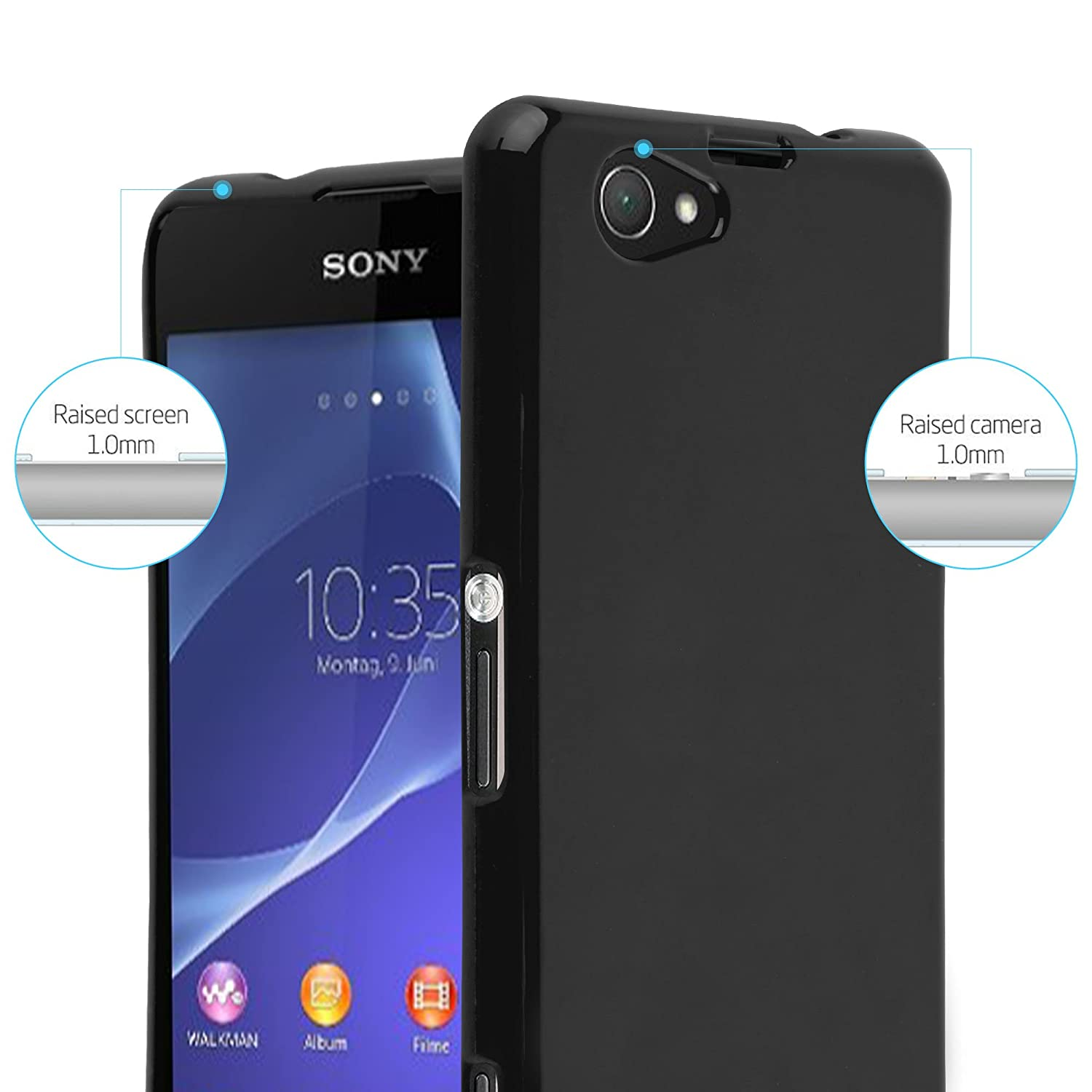 Amazon.com: Cadorabo Case Works with Sony Xperia Z1 Compact ...
