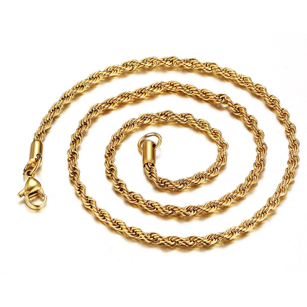 Mens Cuban Curb/Figaro Chain Link Necklace for Pendant Men Women 3mm Hip Hop Men's Punk Jewelry with 20/24/30 inches (Gold (24 inches))