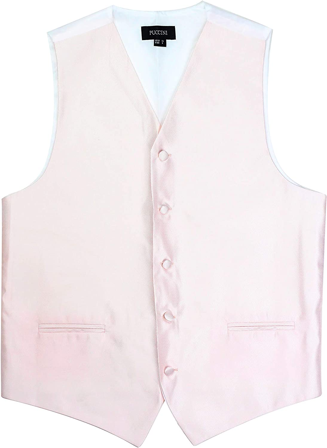PUCCINI Bows-N-Ties Mens Vest Formal Micro Textured Dress Vest for Suits and Tuxedos